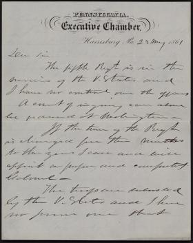 Letter from Andrew Curtin to H. C. Baird