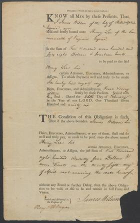 Promissory Note from James Wilson to Henry Lee