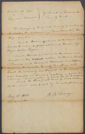 Legal Document, Delashmutts Lessee v. Edward Thomas