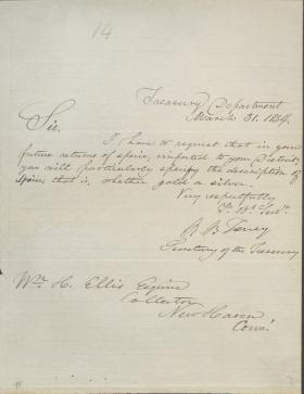 Letter from Roger B. Taney to William Ellis