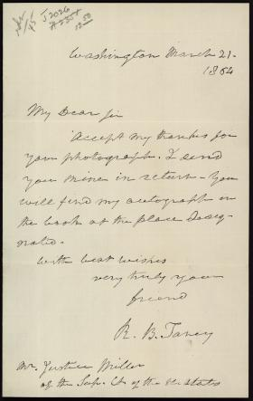 Letter from Roger B. Taney to Samuel F. Miller