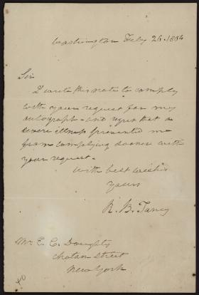 Letter from Roger B. Taney to E. C. Doughty