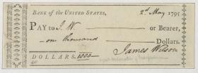 Check from the Bank of the United States to James Wilson