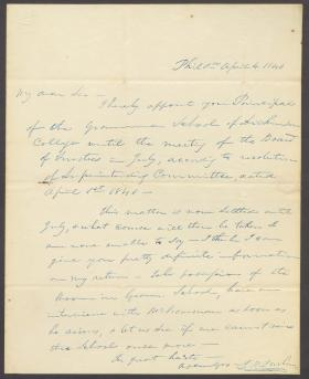 Letter from John Durbin to John Zug