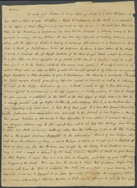 Letter from Charles Nisbet to Selina Hastings