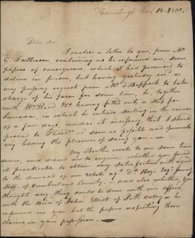 Letter from William Thompson to James Hamilton