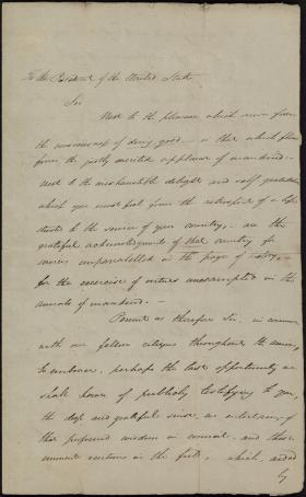 Address to George Washington by Charles Hall (Draft)