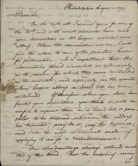 Letter from Timothy Pickering to Charles Hall