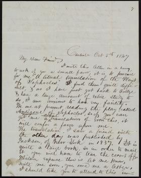 Letter from Henry Dallam to W. Boyd Williams