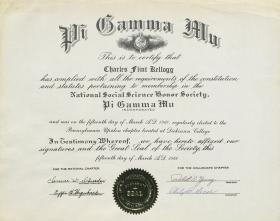 Pi Gamma Mu Certificate - Charles Kellogg