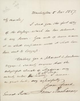 Letter from James Buchanan to Franklin Pierce
