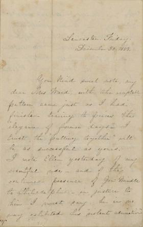 Letter from Harriet Lane to Mrs. Christopher L. Ward