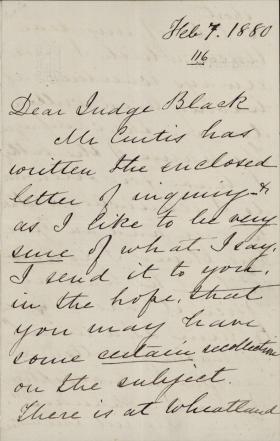 Letter from Harriet Lane Johnston to Jeremiah Black