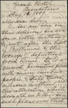 Letter from Harriet Lane Johnston to Lily Macalester