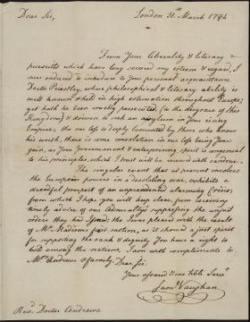 Letter from Samuel Vaughan to John Andrews