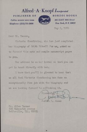 Letter from Judith B. Jones to Allen Tanner