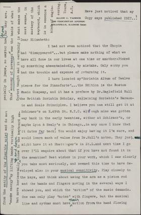Letter from Allen Tanner to Elizabeth Hamill
