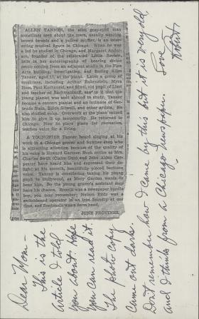 Letter from Robert Tanner to Mother