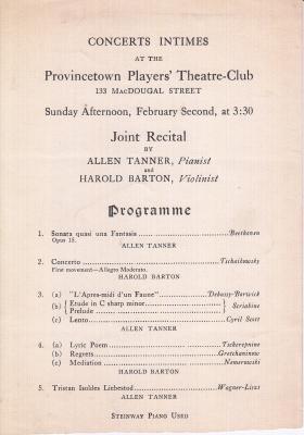 Provincetown Players' Theatre-Club program