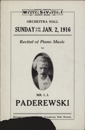 I. J. Paderewski recital program