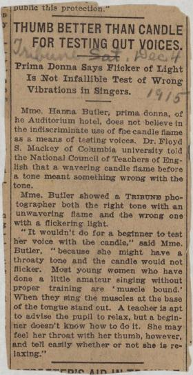 """""""Thumb Better Than Candle for Testing Out Voices"""" clipping from unknown newspaper"""