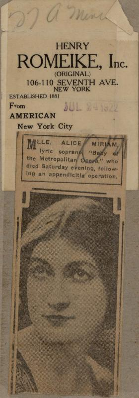 Alice Miriam obituary clipping from unknown newspaper