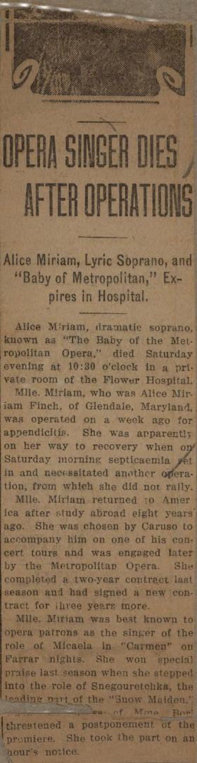 """Opera Singer Dies After Operations"" clipping from unknown newspaper"