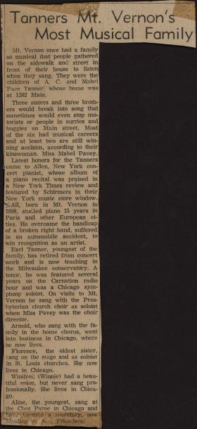 """Tanners Mt. Vernon's Most Musical Family"" clipping from unknown newspaper"
