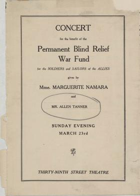 Concert for the benefit of the Permanent Blind Relief War Fund program