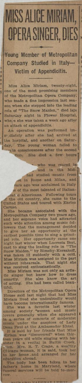 """Miss Alice Miriam, Opera Singer, Dies"" clipping from unknown newspaper"