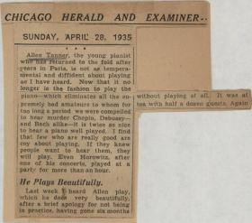 """Allen Tanner the young pianist…"" Chicago Herald and Examiner newspaper clipping"