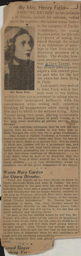"""The Social Whirl"" by Mrs. Henry Field clipping from unknown newspaper"