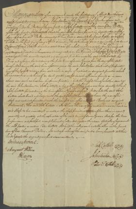 Legal Document, Memorandum between James Wilson and Seth Cattell