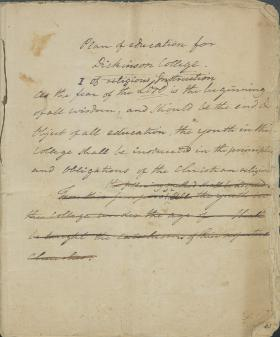 """""""Plan of Education for Dickinson College,"""" by Benjamin Rush"""