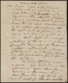 Letter from Hugh Henry Brackenridge to James Hamilton