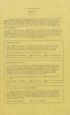 Dickinson Woman's Newsletter (Fall 1973)