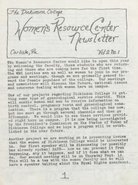 Women's Resource Center Newsletter (Sep. 1978)