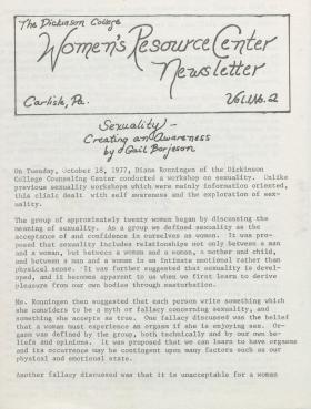 Women's Resource Center Newsletter (Nov. 1977)