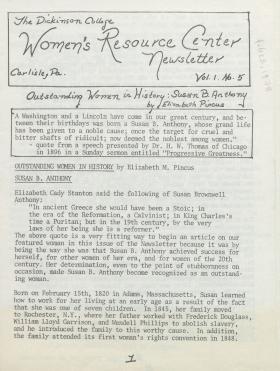 Women's Resource Center Newsletter (Feb. 1978)