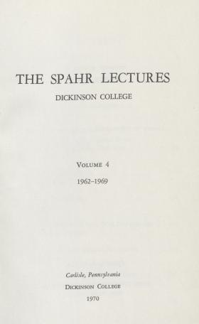 The Spahr Lectures (Vol. 4)