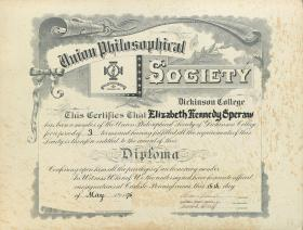 Union Philosophical Society Diploma - Elizabeth Speraw