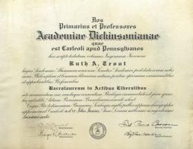 Bachelor of Arts Diploma - Ruth Trout