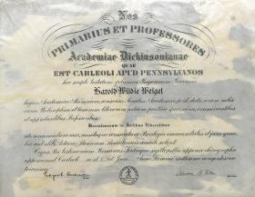 Bachelor of Arts Diploma - Harold Weigel