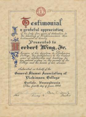 Testimonial from the General Alumni Association Certificate - Herbert Wing