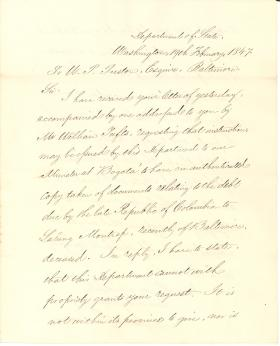 Letter from James Buchanan to W. P. Preston