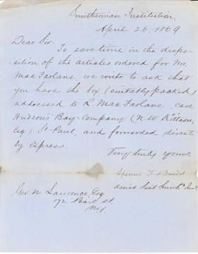 Letters from Spencer Baird to George Lawrence (Apr. - Jun. 1869)