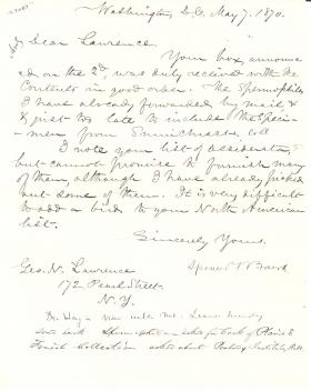 Letters from Spencer Baird to George Lawrence (May - Jun. 1870)