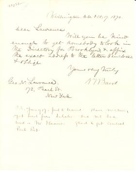 Letters from Spencer Baird to George Lawrence (Oct. - Dec. 1870)