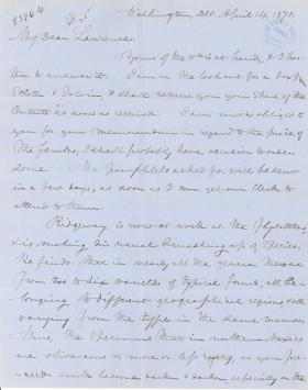 Letters from Spencer Baird to George Lawrence (Apr. - Jun. 1871)