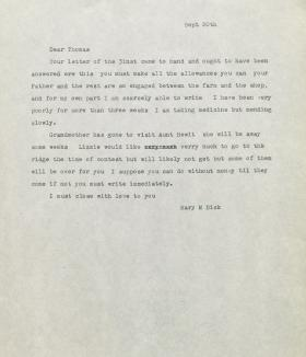 Letter from Mary Dick to Thomas Dick